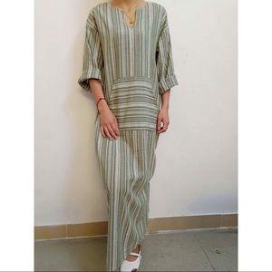 Rustic Sage Striped Linen Pocket Maxi Dress